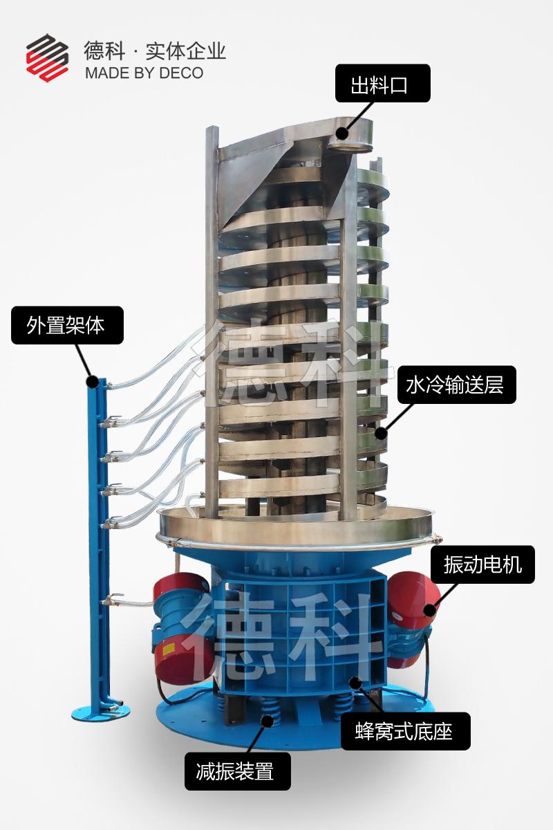 降温输送系统水冷振动提升机物料降温提升机